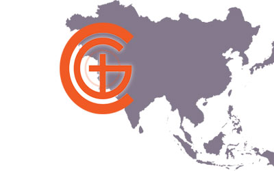 Churches of God Logo with Asia map